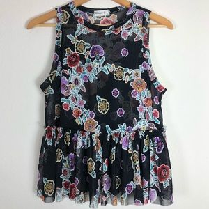 Sheer Floral Tank with Peplum, Size L